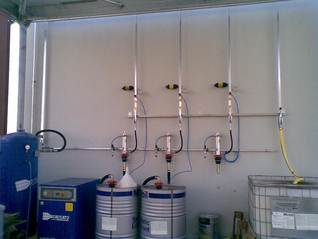 Zona de bombeo aceites nuevos, usados y aire comprimido